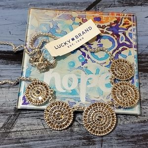 New Lucky brand amber silver jewled disc necklace